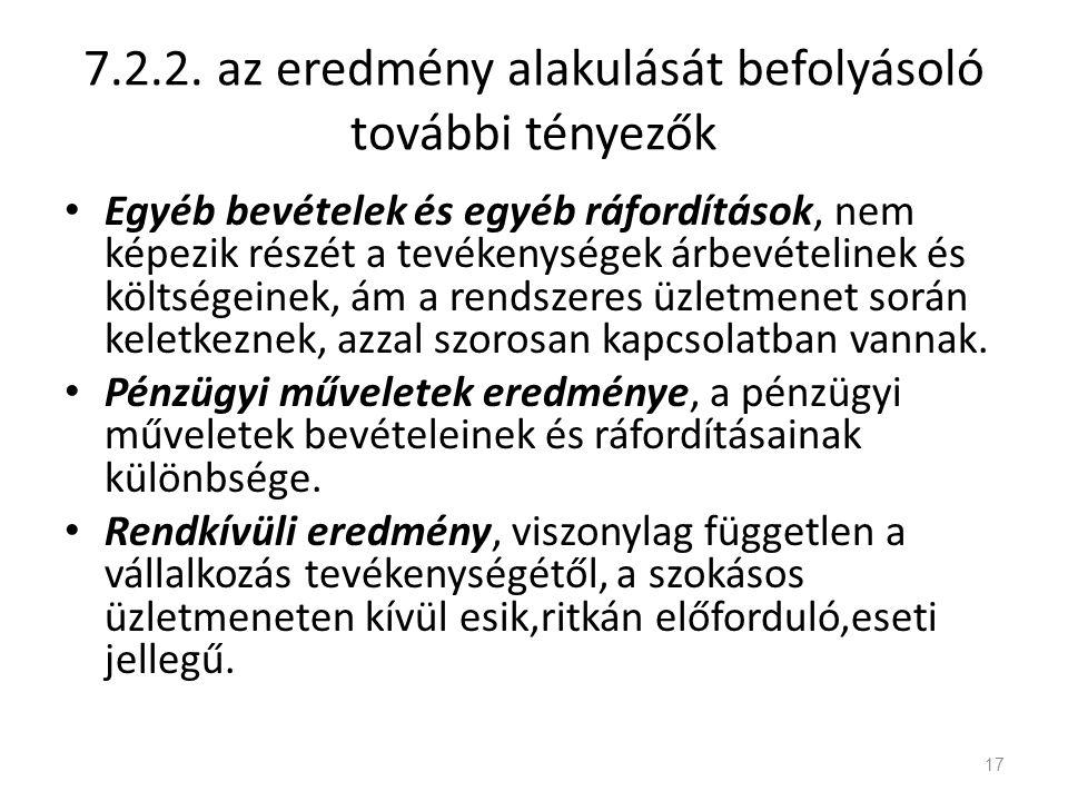 7.2.2. az eredmény alakulását befolyásoló további tényezők Egyéb bevételek és egyéb ráfordítások, nem képezik részét a tevékenységek árbevételinek és
