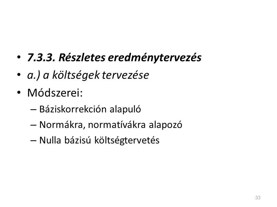 7.3.3. Részletes eredménytervezés a.) a költségek tervezése Módszerei: – Báziskorrekción alapuló – Normákra, normatívákra alapozó – Nulla bázisú költs
