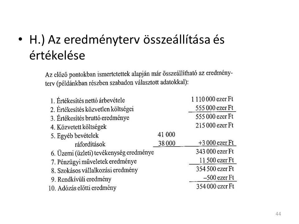 H.) Az eredményterv összeállítása és értékelése 44