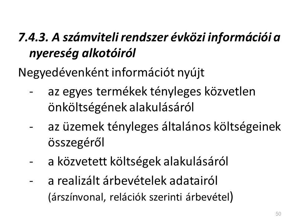 7.4.3. A számviteli rendszer évközi információi a nyereség alkotóiról Negyedévenként információt nyújt - az egyes termékek tényleges közvetlen önkölts