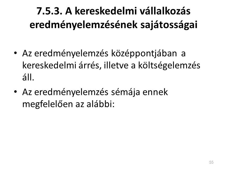7.5.3. A kereskedelmi vállalkozás eredményelemzésének sajátosságai Az eredményelemzés középpontjában a kereskedelmi árrés, illetve a költségelemzés ál
