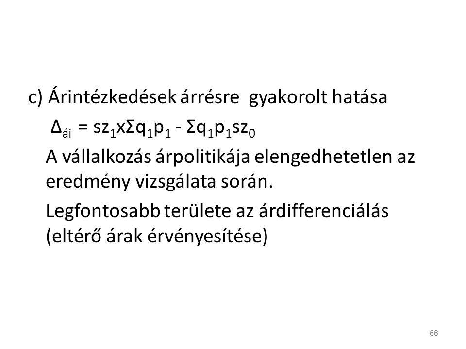 c) Árintézkedések árrésre gyakorolt hatása Δ ái = sz 1 xΣq 1 p 1 - Σq 1 p 1 sz 0 A vállalkozás árpolitikája elengedhetetlen az eredmény vizsgálata sor