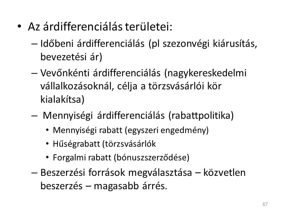 Az árdifferenciálás területei: – Időbeni árdifferenciálás (pl szezonvégi kiárusítás, bevezetési ár) – Vevőnkénti árdifferenciálás (nagykereskedelmi vá