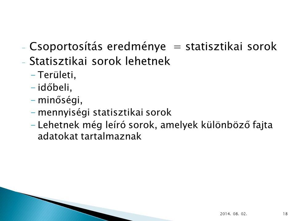 - Csoportosítás eredménye = statisztikai sorok - Statisztikai sorok lehetnek -Területi, -időbeli, -minőségi, -mennyiségi statisztikai sorok -Lehetnek még leíró sorok, amelyek különböző fajta adatokat tartalmaznak 2014.