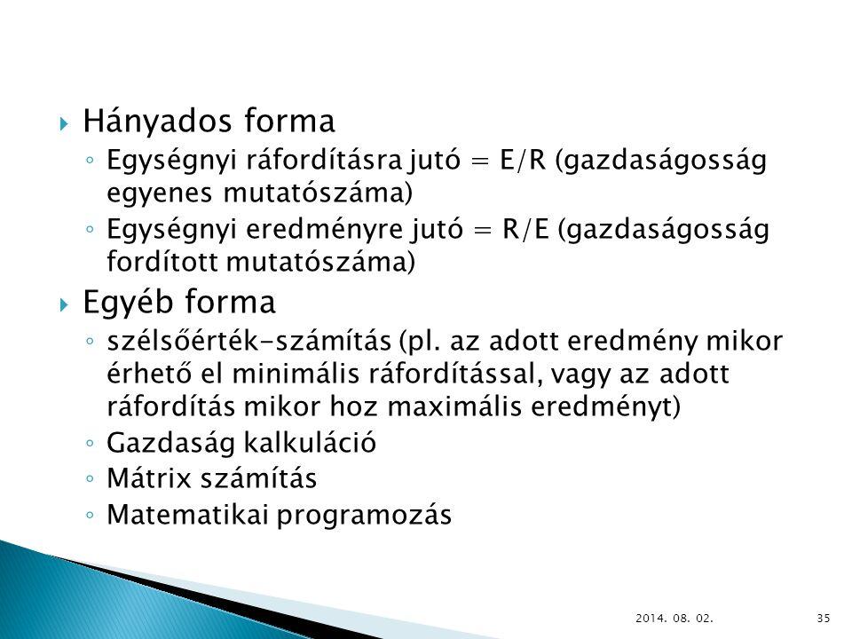  Hányados forma ◦ Egységnyi ráfordításra jutó = E/R (gazdaságosság egyenes mutatószáma) ◦ Egységnyi eredményre jutó = R/E (gazdaságosság fordított mutatószáma)  Egyéb forma ◦ szélsőérték-számítás (pl.