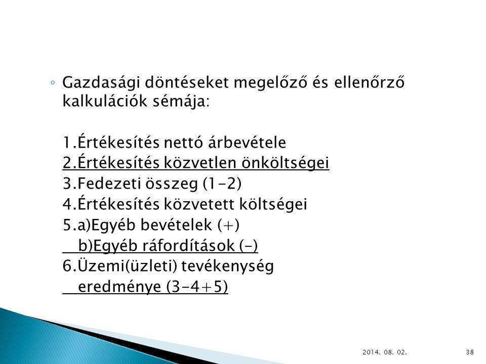 ◦ Gazdasági döntéseket megelőző és ellenőrző kalkulációk sémája: 1.Értékesítés nettó árbevétele 2.Értékesítés közvetlen önköltségei 3.Fedezeti összeg (1-2) 4.Értékesítés közvetett költségei 5.a)Egyéb bevételek (+) b)Egyéb ráfordítások (-) 6.Üzemi(üzleti) tevékenység eredménye (3-4+5) 2014.