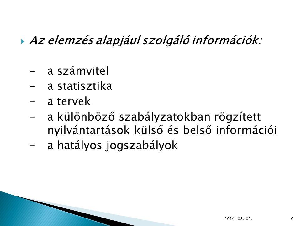  Az elemzés alapjául szolgáló információk: - a számvitel - a statisztika - a tervek -a különböző szabályzatokban rögzített nyilvántartások külső és belső információi - a hatályos jogszabályok 2014.