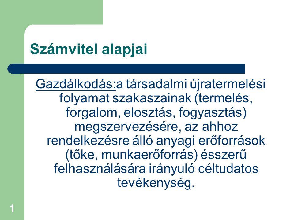 1 Számvitel alapjai Gazdálkodás:a társadalmi újratermelési folyamat szakaszainak (termelés, forgalom, elosztás, fogyasztás) megszervezésére, az ahhoz rendelkezésre álló anyagi erőforrások (tőke, munkaerőforrás) ésszerű felhasználására irányuló céltudatos tevékenység.