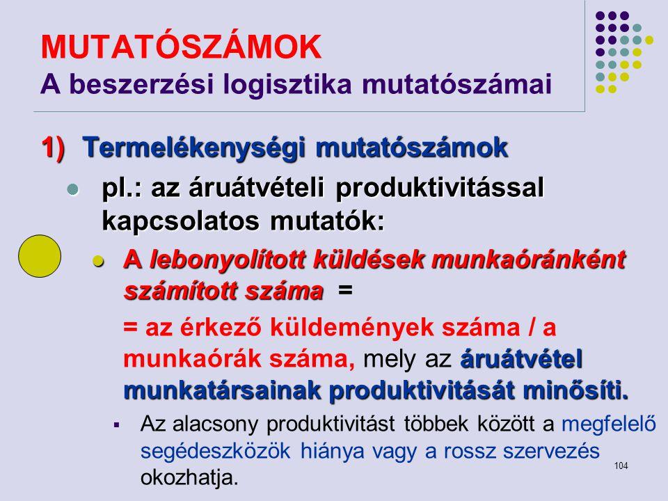 104 MUTATÓSZÁMOK A beszerzési logisztika mutatószámai 1)Termelékenységi mutatószámok pl.: az áruátvételi produktivitással kapcsolatos mutatók: pl.: az