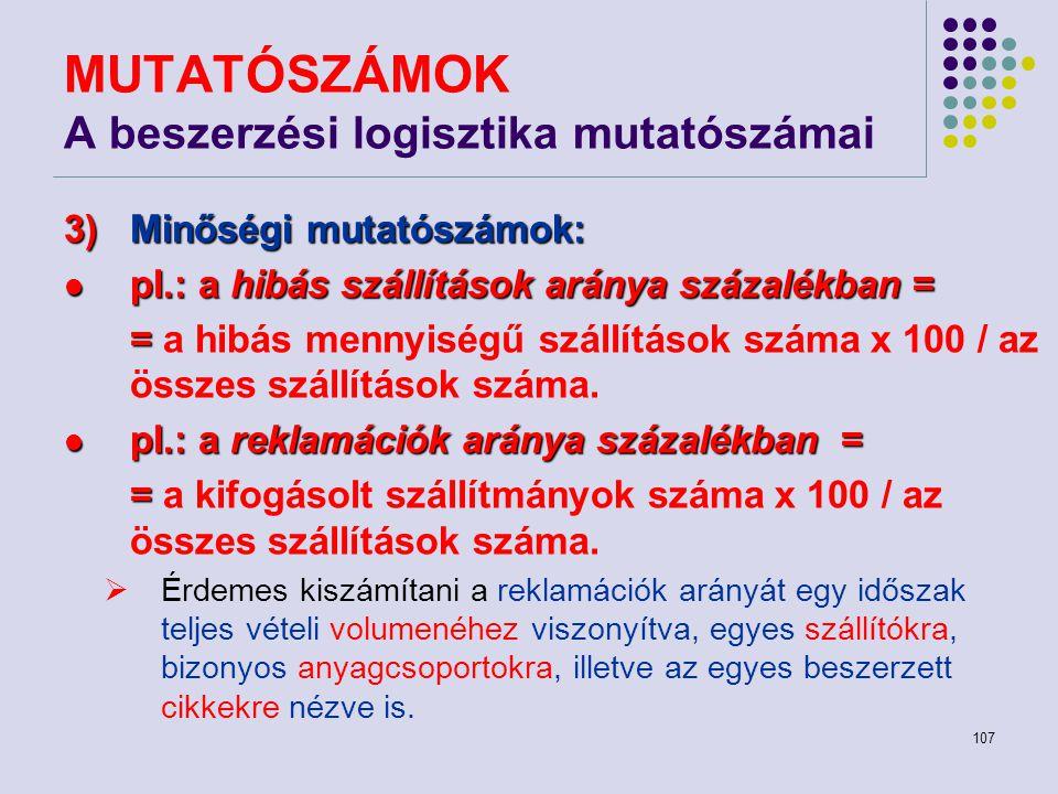 107 MUTATÓSZÁMOK A beszerzési logisztika mutatószámai 3)Minőségi mutatószámok: pl.: a hibás szállítások aránya százalékban = pl.: a hibás szállítások