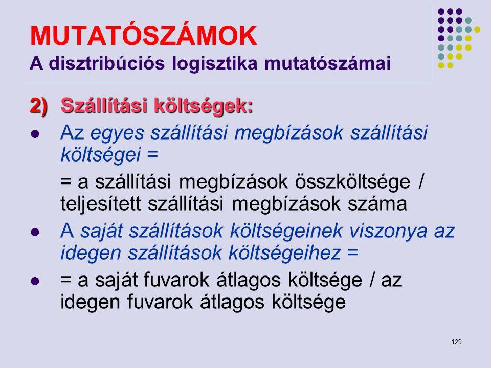 129 MUTATÓSZÁMOK A disztribúciós logisztika mutatószámai 2)Szállítási költségek: Az egyes szállítási megbízások szállítási költségei = = a szállítási