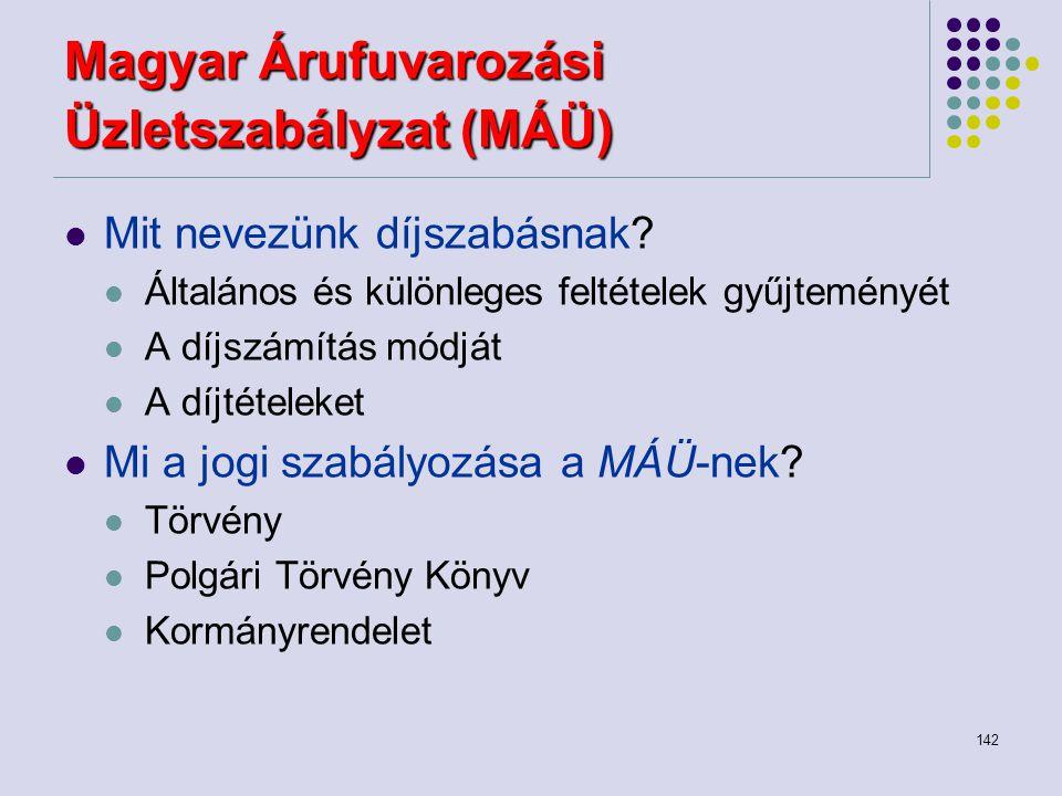 142 Magyar Árufuvarozási Üzletszabályzat (MÁÜ) Mit nevezünk díjszabásnak? Általános és különleges feltételek gyűjteményét A díjszámítás módját A díjté