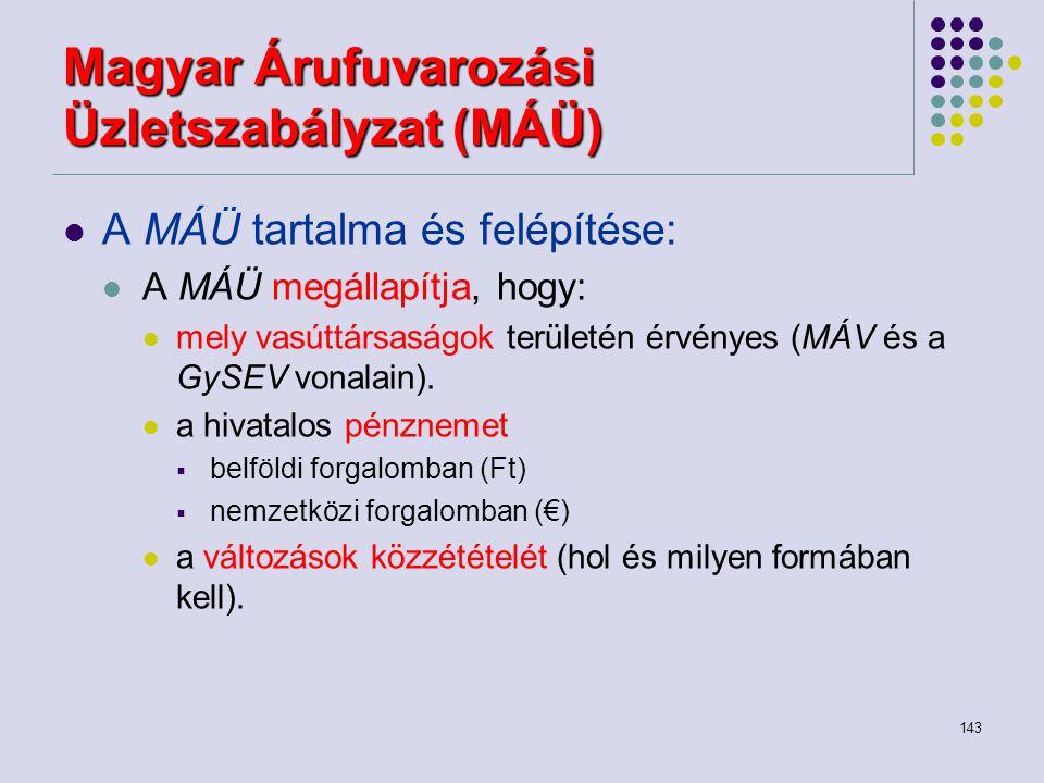 143 Magyar Árufuvarozási Üzletszabályzat (MÁÜ) A MÁÜ tartalma és felépítése: A MÁÜ megállapítja, hogy: mely vasúttársaságok területén érvényes (MÁV és