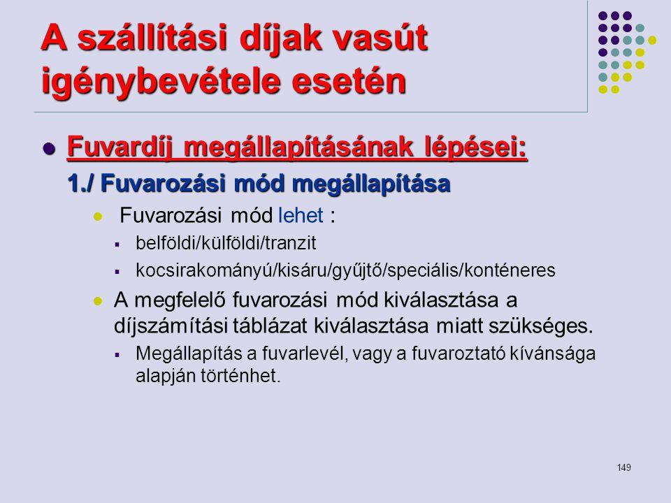 149 A szállítási díjak vasút igénybevétele esetén Fuvardíj megállapításának lépései: Fuvardíj megállapításának lépései: 1./ Fuvarozási mód megállapítá