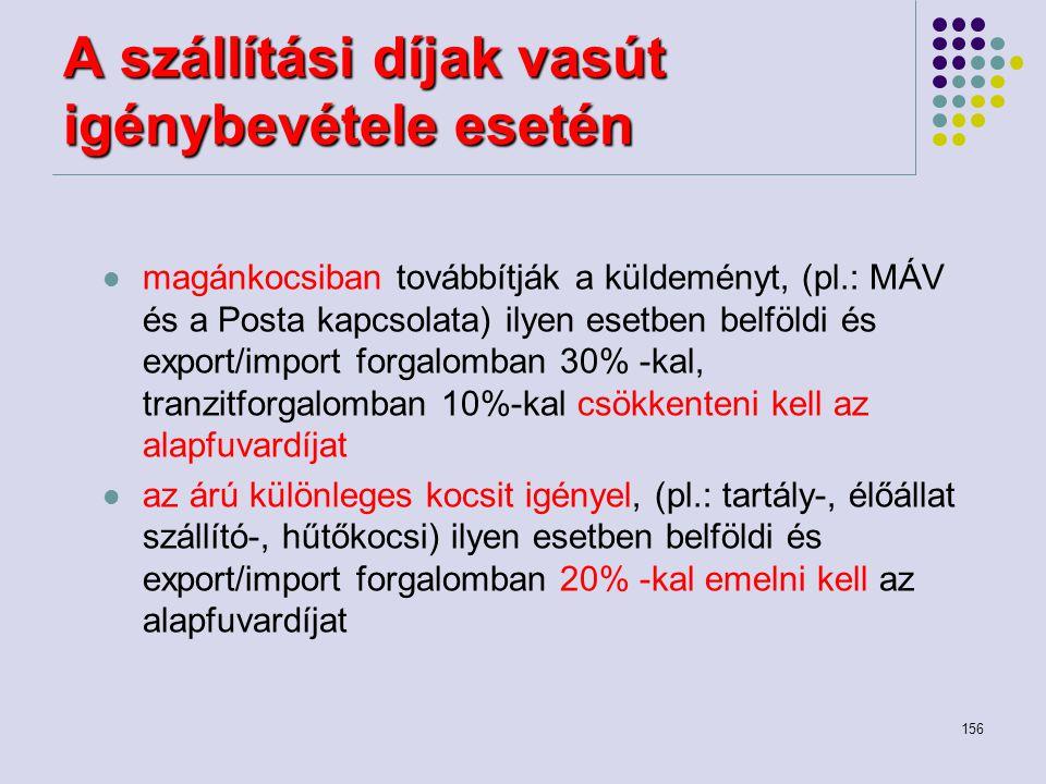 156 A szállítási díjak vasút igénybevétele esetén magánkocsiban továbbítják a küldeményt, (pl.: MÁV és a Posta kapcsolata) ilyen esetben belföldi és e