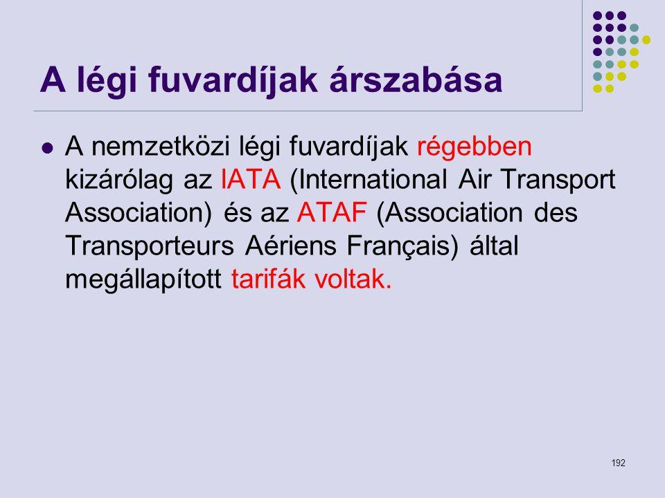 192 A légi fuvardíjak árszabása A nemzetközi légi fuvardíjak régebben kizárólag az IATA (International Air Transport Association) és az ATAF (Associat