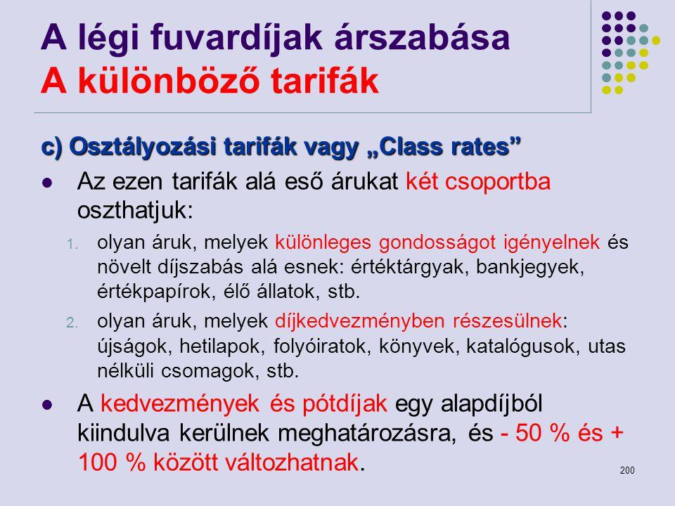 """200 A légi fuvardíjak árszabása A különböző tarifák c) Osztályozási tarifák vagy """"Class rates"""" Az ezen tarifák alá eső árukat két csoportba oszthatjuk"""