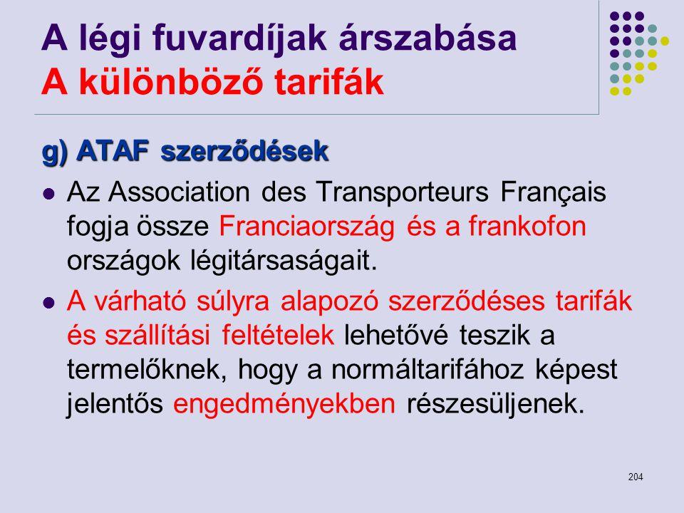 204 A légi fuvardíjak árszabása A különböző tarifák g) ATAF szerződések Az Association des Transporteurs Français fogja össze Franciaország és a frank