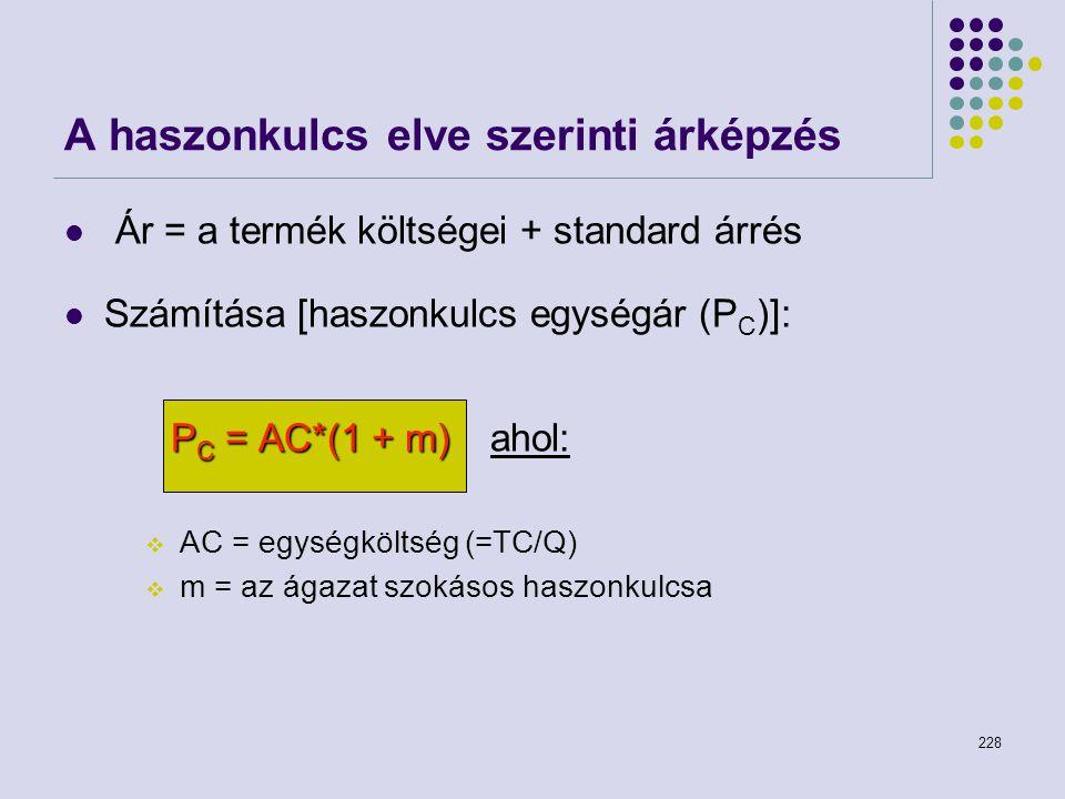 228 Ár = a termék költségei + standard árrés Számítása [haszonkulcs egységár (P C )]: P C = AC*(1 + m) P C = AC*(1 + m) ahol:  AC = egységköltség (=T