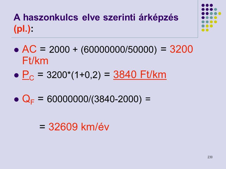 230 A haszonkulcs elve szerinti árképzés (pl.): AC = 2000 + (60000000/50000) = 3200 Ft/km P C = 3200*(1+0,2) = 3840 Ft/km Q F = 60000000/(3840-2000) =
