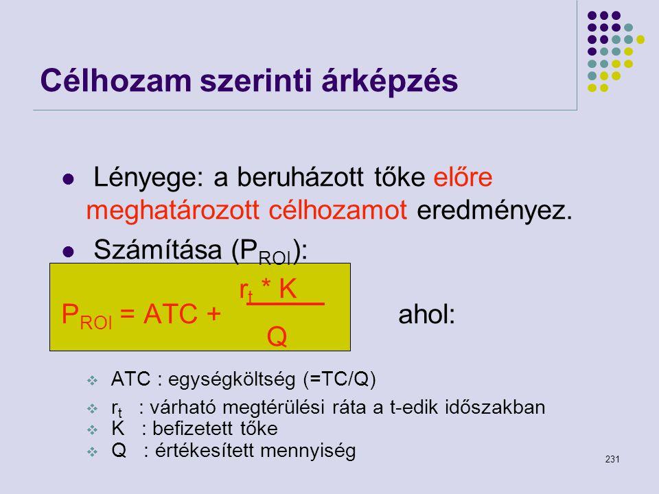 231 Lényege: a beruházott tőke előre meghatározott célhozamot eredményez. Számítása (P ROI ): r t * K P ROI = ATC + ahol: Q  ATC : egységköltség (=TC