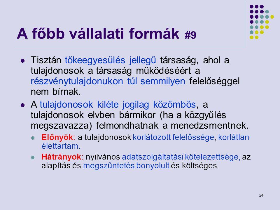 24 A főbb vállalati formák #9 Tisztán tőkeegyesülés jellegű társaság, ahol a tulajdonosok a társaság működéséért a részvénytulajdonukon túl semmilyen