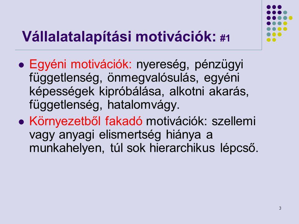 3 Vállalatalapítási motivációk: #1 Egyéni motivációk: nyereség, pénzügyi függetlenség, önmegvalósulás, egyéni képességek kipróbálása, alkotni akarás,