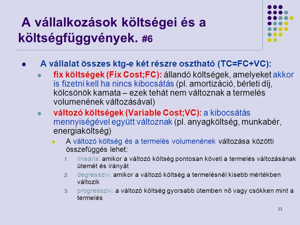 33 A vállalkozások költségei és a költségfüggvények. #6 A vállalat összes ktg-e két részre osztható (TC=FC+VC): fix költségek (Fix Cost;FC): állandó k