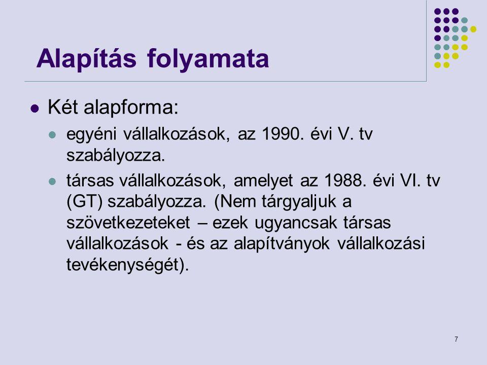 7 Alapítás folyamata Két alapforma: egyéni vállalkozások, az 1990. évi V. tv szabályozza. társas vállalkozások, amelyet az 1988. évi VI. tv (GT) szabá