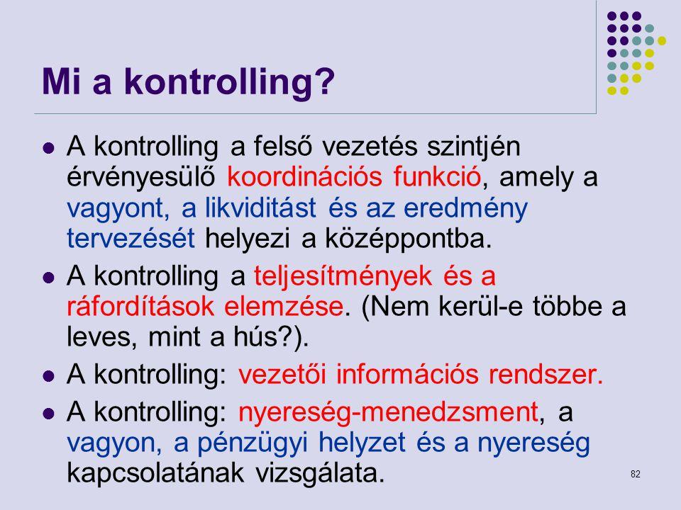 82 Mi a kontrolling? A kontrolling a felső vezetés szintjén érvényesülő koordinációs funkció, amely a vagyont, a likviditást és az eredmény tervezését