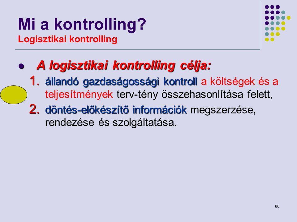 86 Mi a kontrolling? Logisztikai kontrolling A logisztikai kontrolling célja: A logisztikai kontrolling célja: 1. állandógazdaságossági kontroll 1. ál