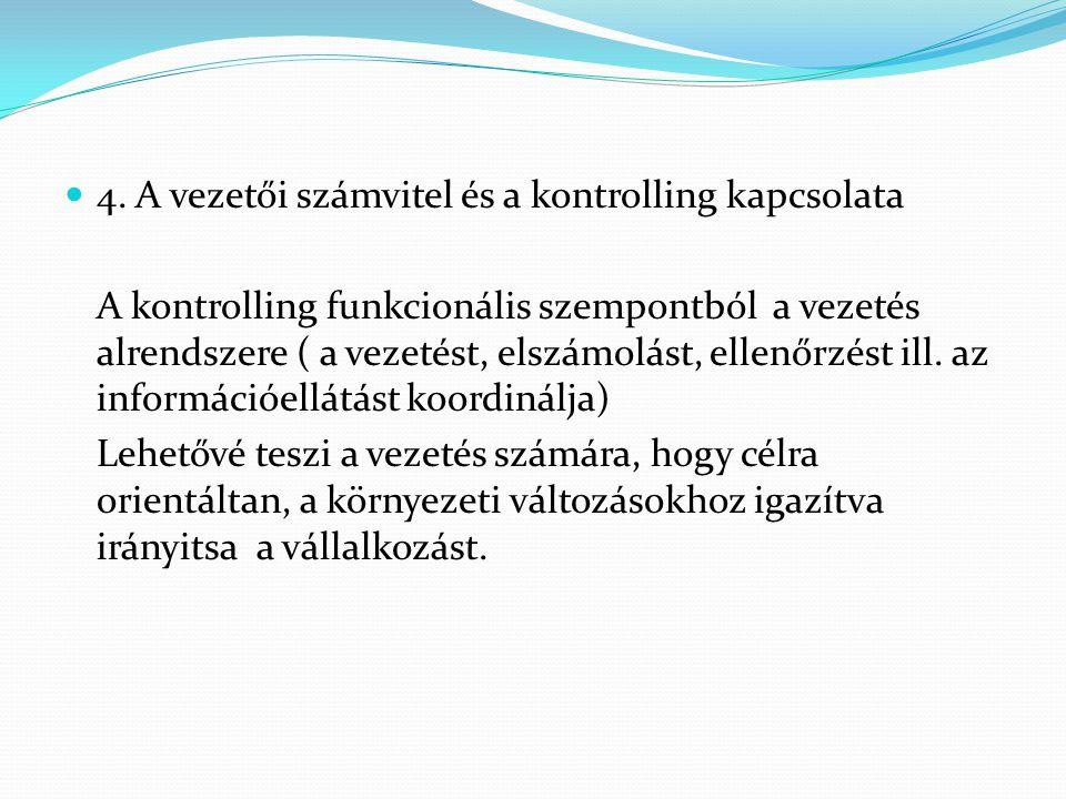 4. A vezetői számvitel és a kontrolling kapcsolata A kontrolling funkcionális szempontból a vezetés alrendszere ( a vezetést, elszámolást, ellenőrzést