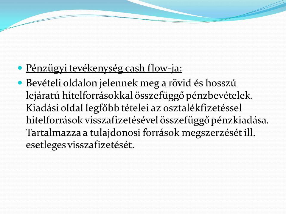 Pénzügyi tevékenység cash flow-ja: Bevételi oldalon jelennek meg a rövid és hosszú lejáratú hitelforrásokkal összefüggő pénzbevételek. Kiadási oldal l