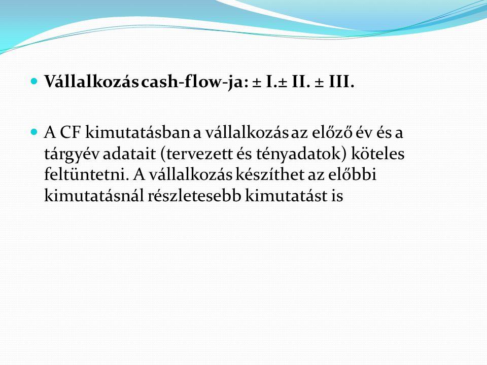 Vállalkozás cash-flow-ja: ± I.± II. ± III. A CF kimutatásban a vállalkozás az előző év és a tárgyév adatait (tervezett és tényadatok) köteles feltünte