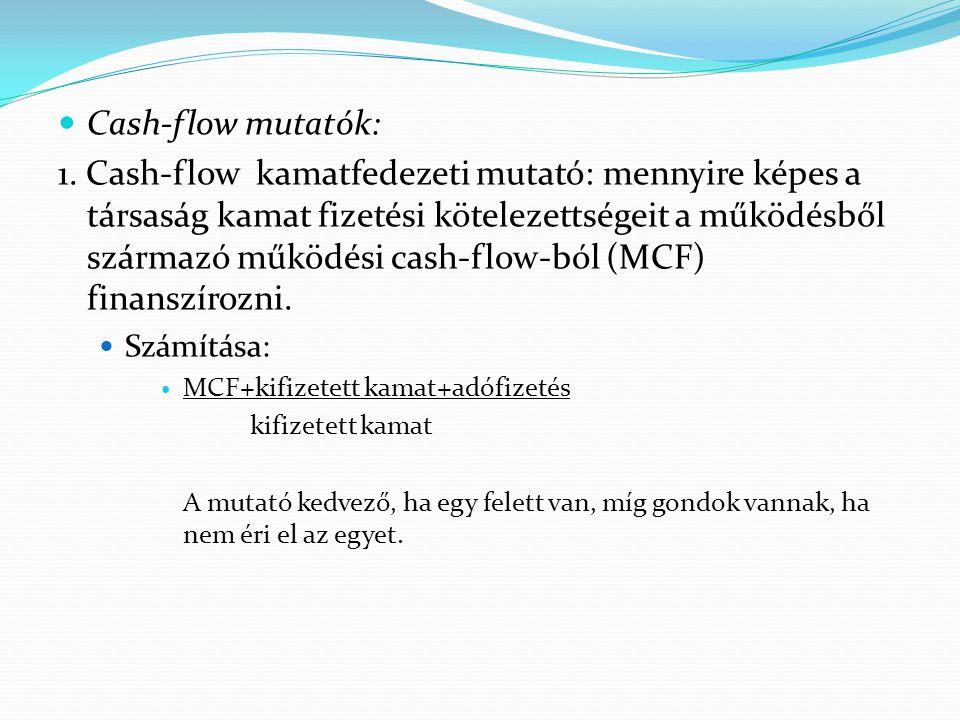 Cash-flow mutatók: 1. Cash-flow kamatfedezeti mutató: mennyire képes a társaság kamat fizetési kötelezettségeit a működésből származó működési cash-fl