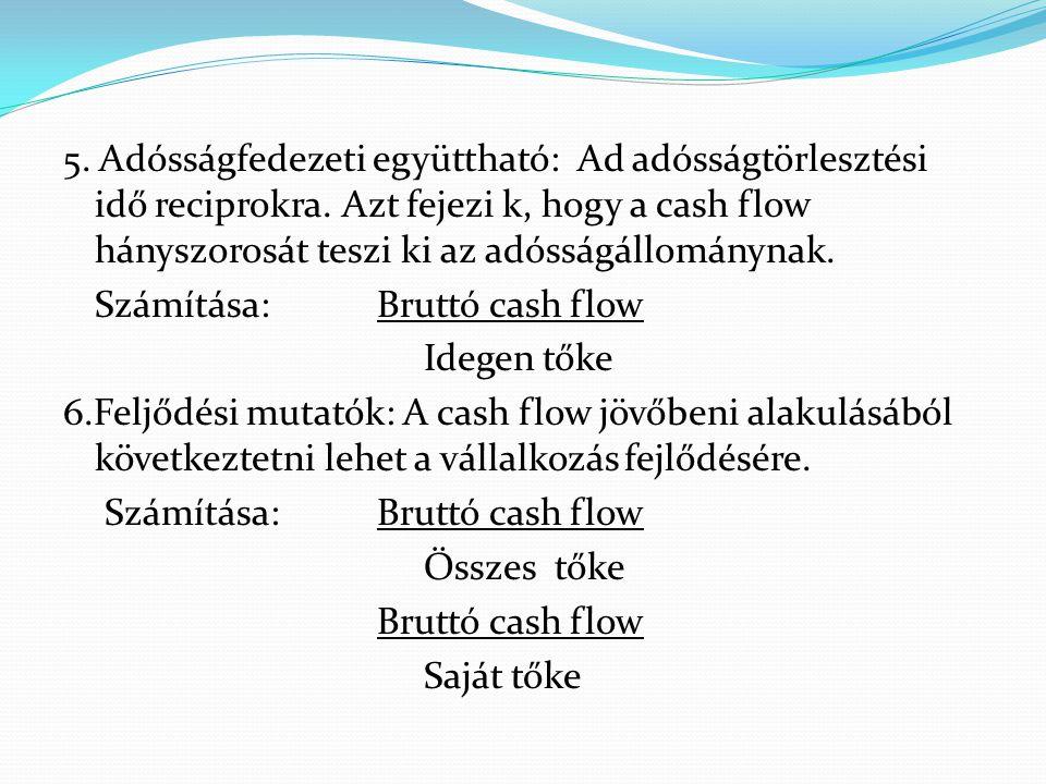 5. Adósságfedezeti együttható: Ad adósságtörlesztési idő reciprokra. Azt fejezi k, hogy a cash flow hányszorosát teszi ki az adósságállománynak. Számí