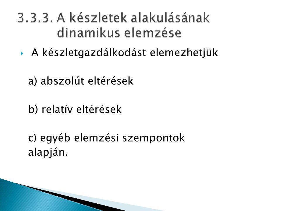  A készletgazdálkodást elemezhetjük a) abszolút eltérések b) relatív eltérések c) egyéb elemzési szempontok alapján.