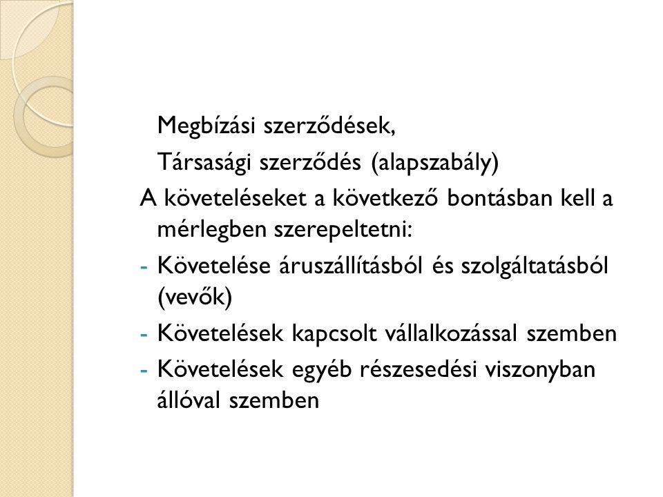Megbízási szerződések, Társasági szerződés (alapszabály) A követeléseket a következő bontásban kell a mérlegben szerepeltetni: -Követelése áruszállítá