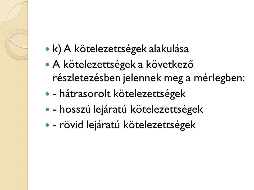 k) A kötelezettségek alakulása A kötelezettségek a következő részletezésben jelennek meg a mérlegben: - hátrasorolt kötelezettségek - hosszú lejáratú