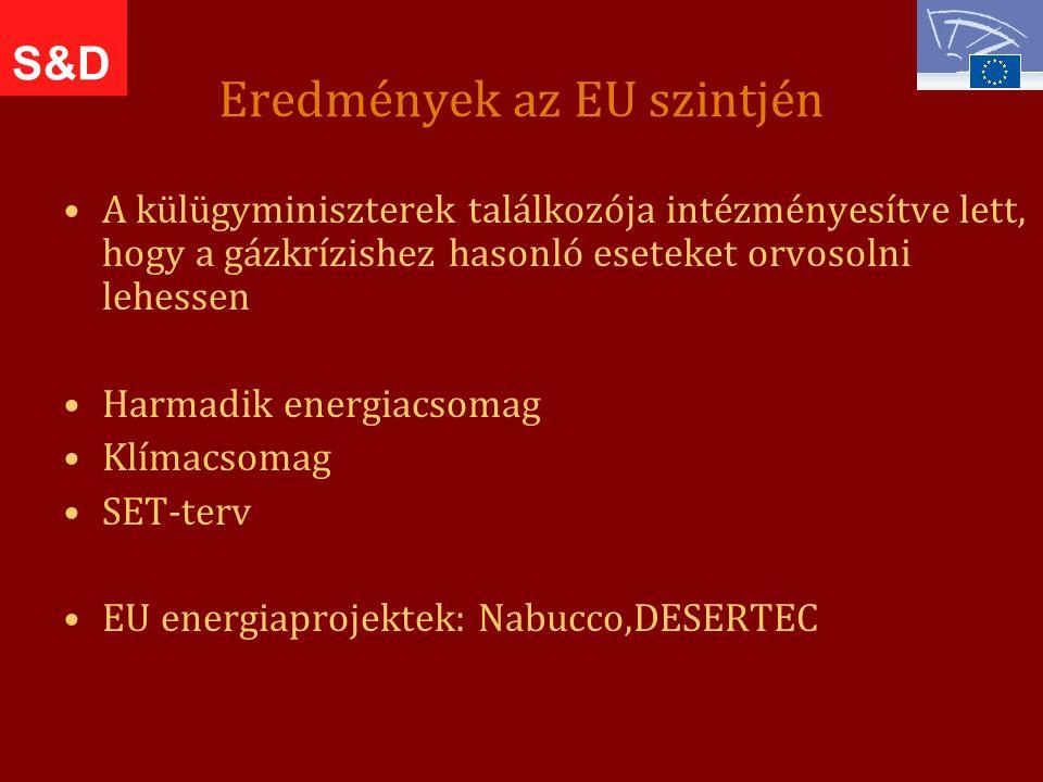 Eredmények az EU szintjén A külügyminiszterek találkozója intézményesítve lett, hogy a gázkrízishez hasonló eseteket orvosolni lehessen Harmadik energiacsomag Klímacsomag SET-terv EU energiaprojektek: Nabucco,DESERTEC S&D