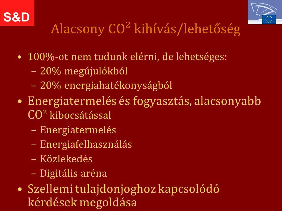 Alacsony CO² kihívás/lehetőség 100%-ot nem tudunk elérni, de lehetséges: –20% megújulókból –20% energiahatékonyságból Energiatermelés és fogyasztás, alacsonyabb CO² kibocsátással –Energiatermelés –Energiafelhasználás –Közlekedés –Digitális aréna Szellemi tulajdonjoghoz kapcsolódó kérdések megoldása S&D
