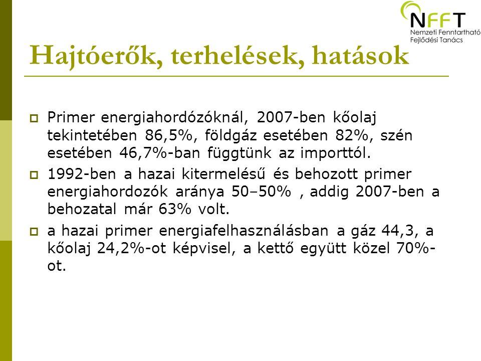Hajtóerők, terhelések, hatások  Primer energiahordózóknál, 2007-ben kőolaj tekintetében 86,5%, földgáz esetében 82%, szén esetében 46,7%-ban függtünk az importtól.