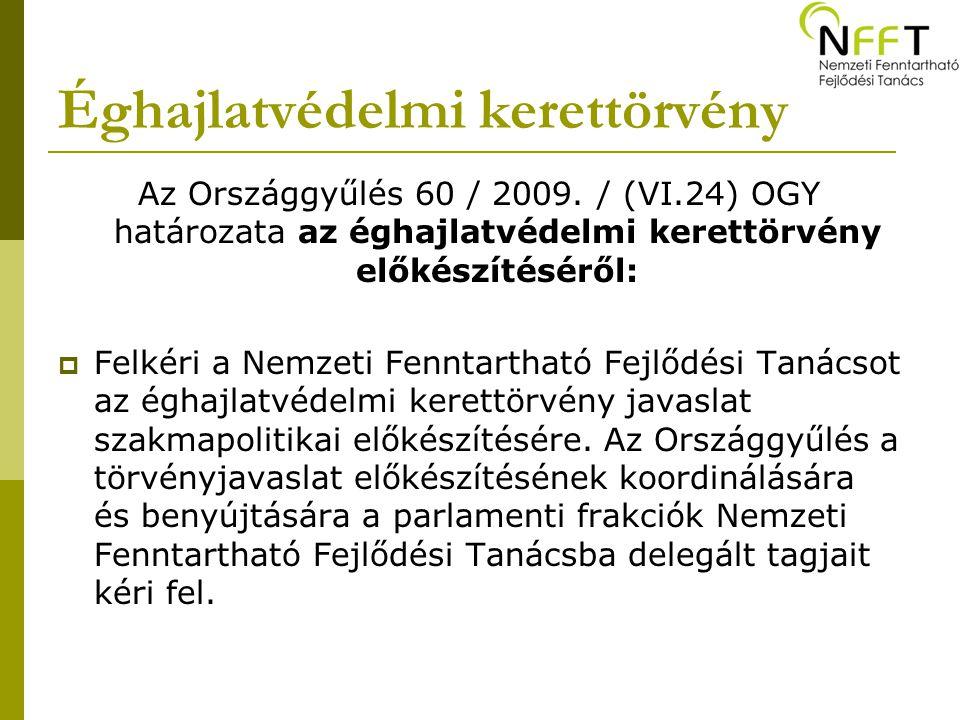 Éghajlatvédelmi kerettörvény Az Országgyűlés 60 / 2009.