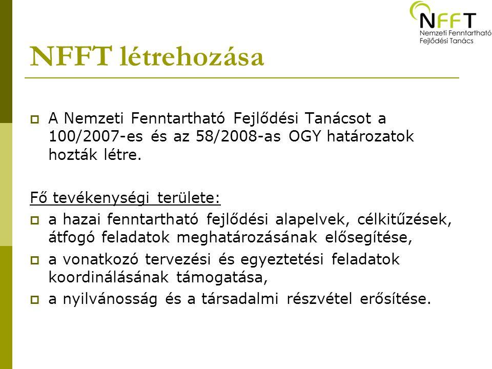 NFFT létrehozása  A Nemzeti Fenntartható Fejlődési Tanácsot a 100/2007-es és az 58/2008-as OGY határozatok hozták létre. Fő tevékenységi területe: 