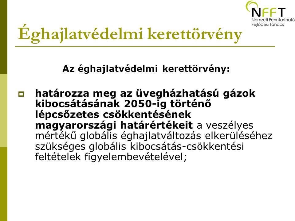 Az éghajlatvédelmi kerettörvény:  határozza meg az üvegházhatású gázok kibocsátásának 2050-ig történő lépcsőzetes csökkentésének magyarországi határértékeit a veszélyes mértékű globális éghajlatváltozás elkerüléséhez szükséges globális kibocsátás-csökkentési feltételek figyelembevételével;