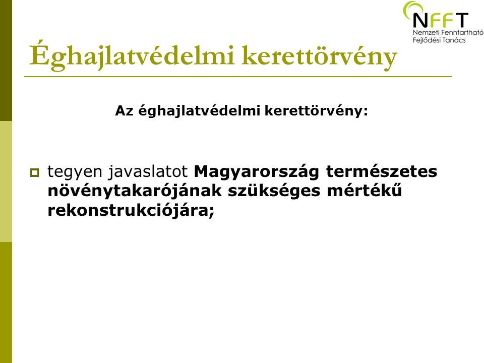 Éghajlatvédelmi kerettörvény Az éghajlatvédelmi kerettörvény:  tegyen javaslatot Magyarország természetes növénytakarójának szükséges mértékű rekonst
