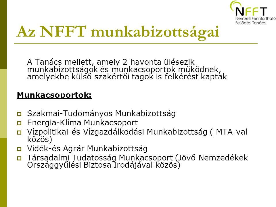 Az NFFT munkabizottságai A Tanács mellett, amely 2 havonta ülésezik munkabizottságok és munkacsoportok működnek, amelyekbe külső szakértői tagok is fe