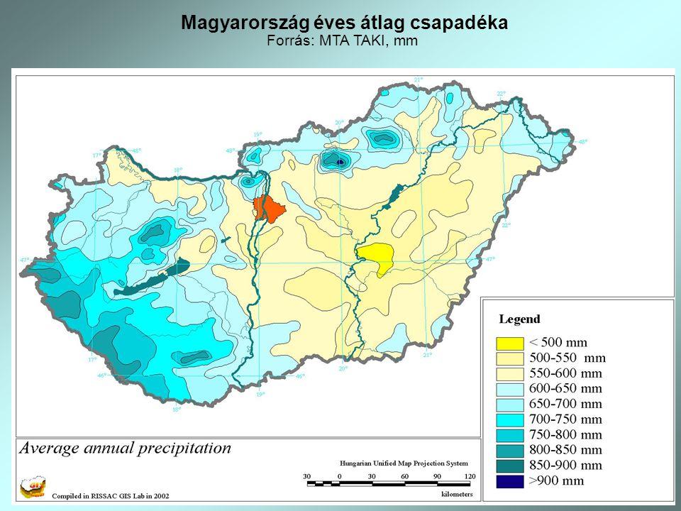 Magyarország éves átlag csapadéka Forrás: MTA TAKI, mm