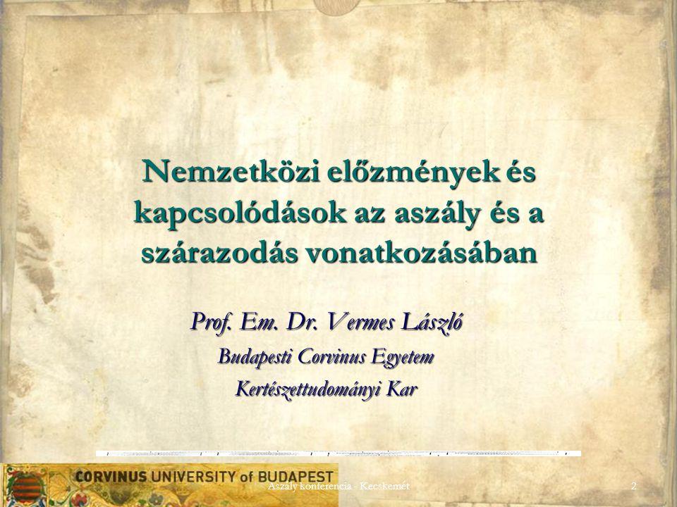 Aszály konferencia - Kecskemét2 Nemzetközi előzmények és kapcsolódások az aszály és a szárazodás vonatkozásában Prof.