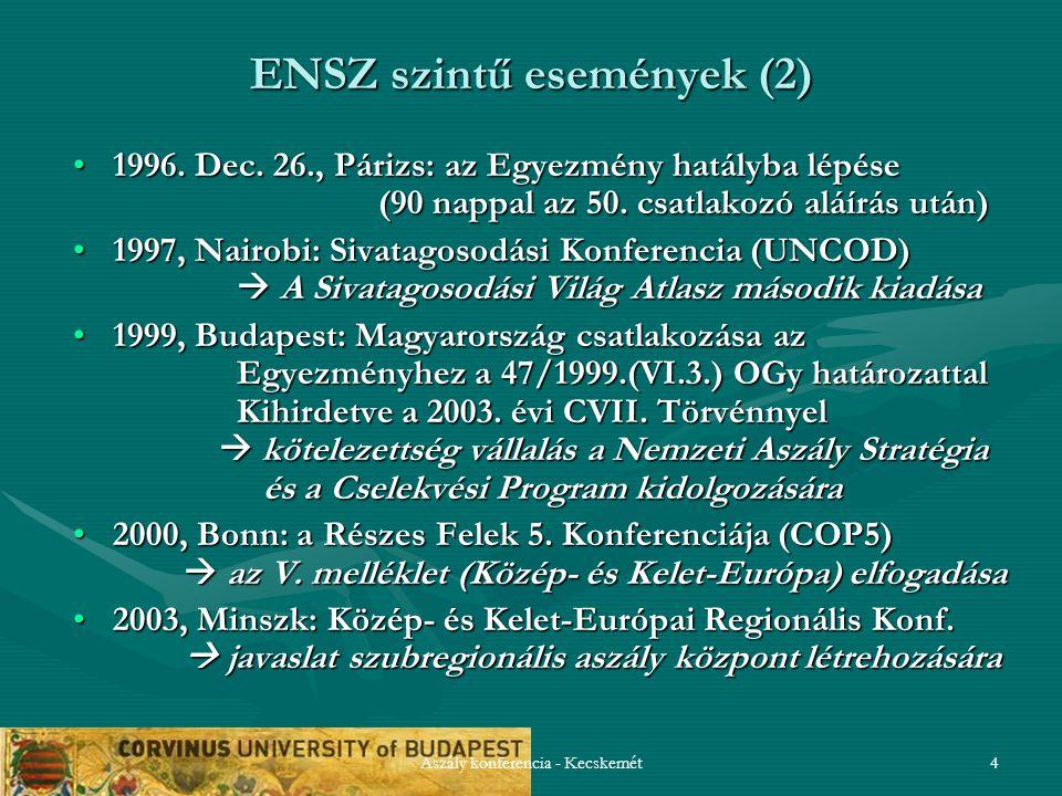 Aszály konferencia - Kecskemét5 ENSZ szintű események (3) 2004, Poiana-Brasov: technikai workshop az aszályra való felkészülésről  az aszály központ előkészítése2004, Poiana-Brasov: technikai workshop az aszályra való felkészülésről  az aszály központ előkészítése 2006, Szófia: technikai workshop az aszály központról2006, Szófia: technikai workshop az aszály központról 2007, Genf: a UNCCD és a WMO közös Közép- és Kelet- Európai Aszály Központjának (DMCSEE) megalakítása Ljubljana (Szlovénia) székhellyel2007, Genf: a UNCCD és a WMO közös Közép- és Kelet- Európai Aszály Központjának (DMCSEE) megalakítása Ljubljana (Szlovénia) székhellyel 2008, Isztambul: a UNCCD szerveinek (CRIC, CST) rendkívüli ülése a megújulás jegyében  a 10 éves stratégiai terv kialakítása  a nemzeti jelentésekhez indikátorok kidolgozása2008, Isztambul: a UNCCD szerveinek (CRIC, CST) rendkívüli ülése a megújulás jegyében  a 10 éves stratégiai terv kialakítása  a nemzeti jelentésekhez indikátorok kidolgozása 2009, Buenos Aires: a Részes Felek 9.Konferenciája (COP9)2009, Buenos Aires: a Részes Felek 9.Konferenciája (COP9)  határozatok várhatók az Egyezmény működésének reformjáról  határozatok várhatók az Egyezmény működésének reformjáról